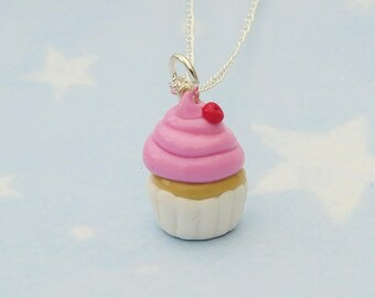 Pink Cherry Cupcake Necklace