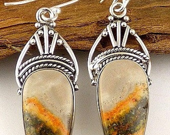 Jewelry BUMBLEBEE Jasper natural stone anchor aje1.1 earth energy stone earrings