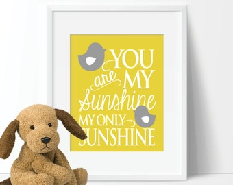 You Are My Sunshine Nursery Print - Not a Peep Print -  Nursery Art - Nursery Decor - Wall Art. Canvas Art. Gender Neutral Nursery. (S-358)
