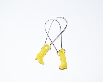 Super Cute Yellow Cowgirl Boot Silver Plated Drop Earrings