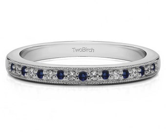 Seventeen Stone Millgrained Pave Set Wedding Ring In Sterling Silver with Diamonds and Sapphires (0.13ct) Antique Wedding Band