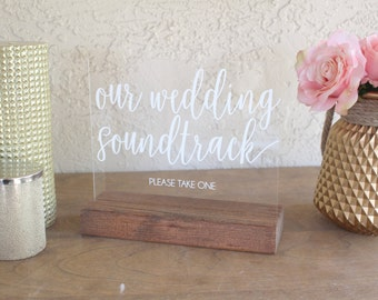 Wedding Favor Table Sign - Wedding Soundtrack CD Sign - Wedding Soundtrack Sign - Wedding CD Sign - Acrylic Wedding Sign - CD Wedding Favors