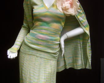Adolfo Saks Fifth Avenue Pastel Knit Ensemble c 1970s