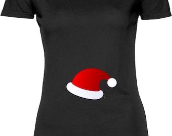 Funny Santa Baby Hat Tshirt Gift T-shirt Tee Shirt Womens Mother Christmas Pregnant Maternity Mom Family Santa Mother Cool T-shirt Tee Shirt