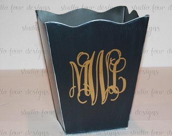 Monogrammed Scalloped Trash Can/Waste Can - Create with your color scheme to match your decor - Assorted Colors Available