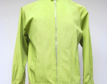 Vintage 1960s Windbreaker / 60s Mens Chartreuse Cotton Casual Zip Jacket / Medium