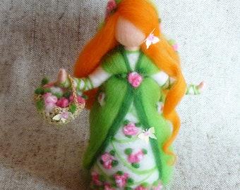 Spring fairy doll, Waldorf doll felt, Needle felted doll, Felted wool fairy, Standing doll