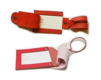 (2 colors to choose) leather luggage tag