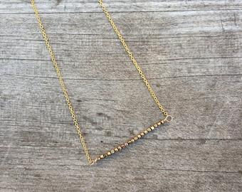 Vintage Gold Beaded Necklace - Vintage Gold Necklace - Minimalist Necklace - Dainty Necklace - Petite Necklace -
