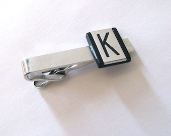 Mens Tie Clasp, Initial K, Signed SWANK, Mens Tie Accessory, Jewelry for Men, 1960s