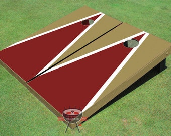 Painted Maroon and Dark Gold Matching Triangle Cornhole Boards