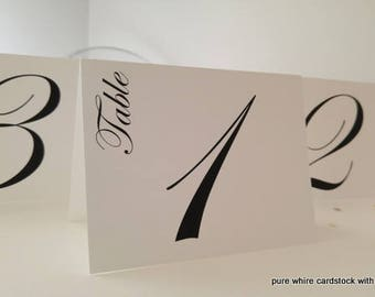Table Number Wedding Tented Style in Colors to Coordinate with your Wedding Reception Color Palette