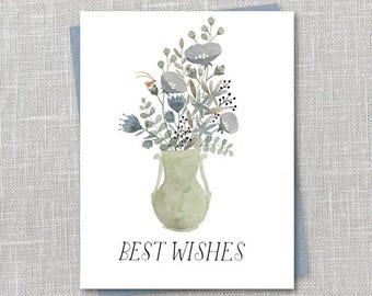 Best Wishes Bouquet Notecard Instant Download PDF
