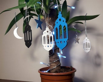 Set of 10 ornaments, lantern, star, moon, decoration for hanging, holiday, present, pendant, for bags, purses, decoration