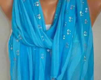 Turquoise Tulle Sequin Scarf, Metallic Scarf,Wedding scarf Evening Shawl,Bridal Wrap,Brdesmaid gift, Church Lace Chapel Veil,Mantilla,