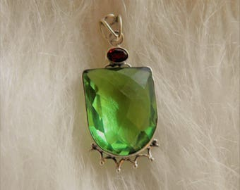 Peridot and Garnet Set in Sterling Silver Pendant.