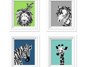Animal Nursery Prints, Animal Nursery Wall Art, Tribal Nursery Prints, Lion Nursery Decor, Zebra Wall Art