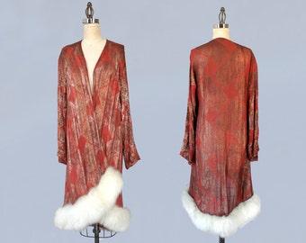 RARE!!  1920s Coat / 20s LIGHTWEIGHT Orange Lamé Flapper Jacket / Metallic Lamé Art Deco Motif