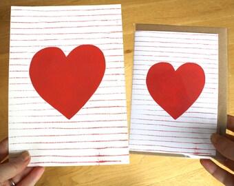 Bundle Deals, Heart Print, Red Heart Art Print, Wedding Gift, Heart Card, Wedding Card, Anniversary Card, Valentines Card, Valentines Day