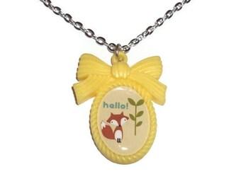 Fox Cameo Necklace, Cute Yellow Kawaii Necklace, Hello