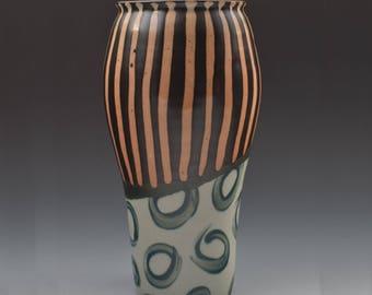 Tall Vase // Black and Orange // Stripes and Circles // Flower Vase // Handmade Pottery // Aslakson Pottery