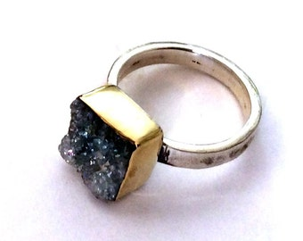 Purple druzy ring, gemstone ring, hammered silver band, gold silver ring, Sterling Silver Band, sterling silver ring - Party girl. R2177-2
