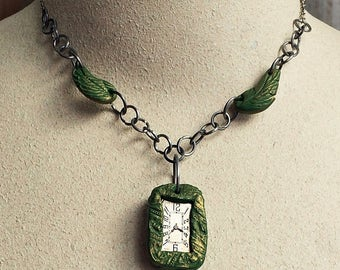 Steampunk Necklace Antique Watch Polymer Clay Frame Angel Wings - Free Domestic Shipping