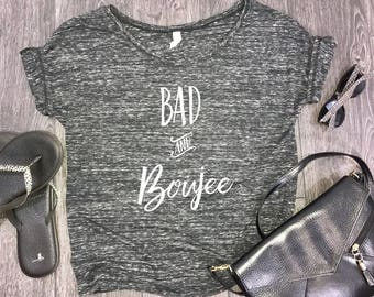 bad and boujee womens slouchy t-shirt, boujee shirt, rap lyrics, brunch shirt, shenanigans, funny shirt for women, trendy womens shirt
