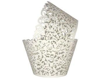 50 Elegant White Laser Lace Cupcake Wrappers  Vine Filligree Wrap Wedding Decor