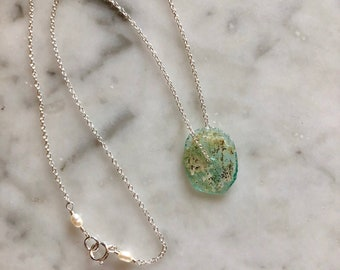 Ancient Roman Sea Glass disc necklace
