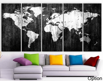Xlarge 30x 70 5 panels art canvas print world map xlarge 30x 70 5 panels art canvas print beautiful world map wood texture wall home office decor interior included framed 15 depth gumiabroncs Gallery