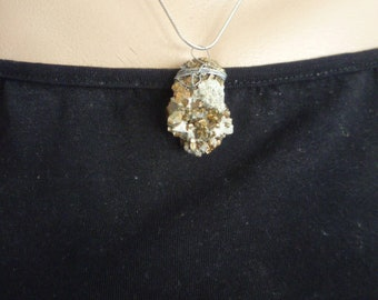 Ladies Pyrite necklace with mineral pendant, Primitive Jewelry Boho Luxe, Raw Pyrite Pendant, Raw Crystal Necklace, Mineral Jewelry,