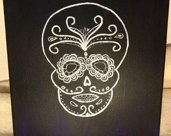 Dia De Los Muertos Skull on Canvas