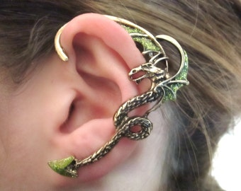 Green glitter ear cuff dragon - green dragon jewelry