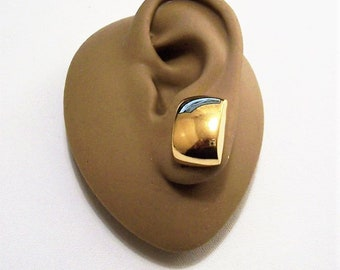 Monet Square Button Clip On Earrings Gold Tone Vintage Polished Domed Solid Blocks Comfort Paddles