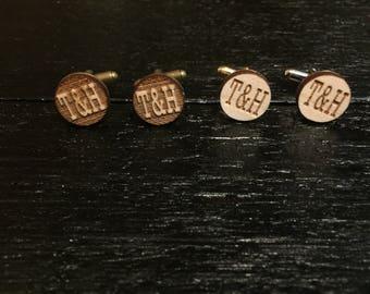 Custom Engraved Initial Cufflinks - Wedding cufflinks, groomsmen gift, groomsmen cuff links, suit up!