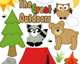 Camping Digital Clipart - Set of 14 - Tent, Trees, Bear, Raccoon, Owl, Fire, Sun, Moon - Instant Download - Item#8256