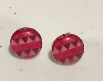 10MM Pink Geometric Stud Earrings