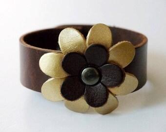 Flower Bracelet Leather Flower Cuff Flower Bangle Flower Leather Cuff Brown Color