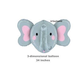 large elephant balloon, baby shower decorations, little peanut, gray elephants, 3 dimensional, 3D, huge, babys first birthday, 1st birthday