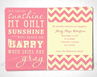 "Chevron ""You Are My Sunshine"" Baby Announcement - Pink Cream - DIY printable"