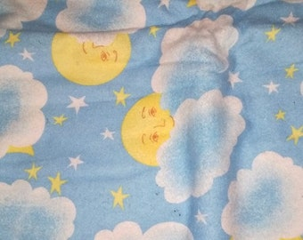 Blue Clouds Moon, Stars Flannel Fabric