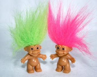 BFF Twins Vintage Russ Troll Miniature Pair of Dolls with Neon Hair