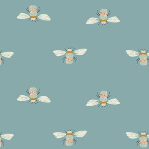 Bumble Buzz, Art Gallery Fabric, Bee Fabric,  Garden Dreamer, Maureen Cracknell, Bee on Blue Fabric, Fabric by the Yard, Art Gallery Bee