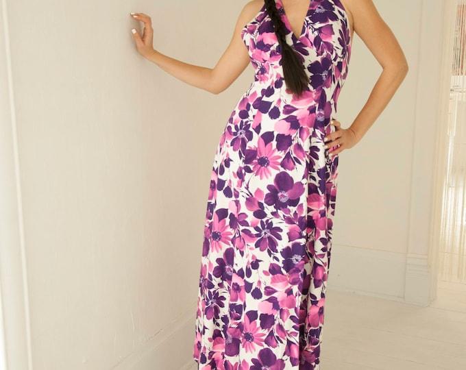 Vintage purple floral halter maxi dress, summer pink white, boho 1970s, emire waist, A-line, M L