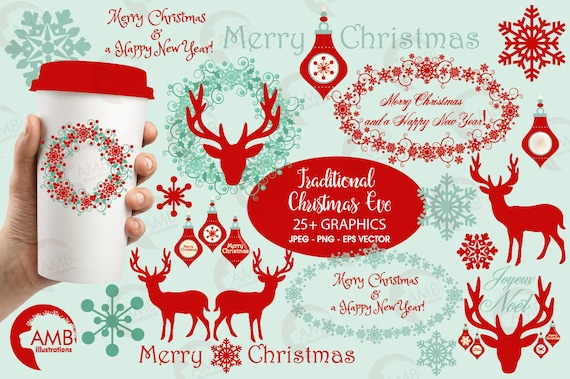 Christmas Clipart Reindeer Vintage Deer Ornament Commercial Use AMB 1117 From AMBillustrations On Etsy