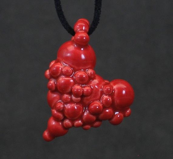 neon red ball heart pendant