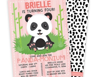 Panda Invitation,  Panda Birthday Party, Panda Birthday Invitation, Panda Invite, Panda Party Invitation, Panda Birthday, Panda Party | 622