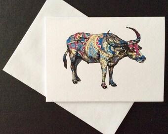 Paisley Water Buffalo Card