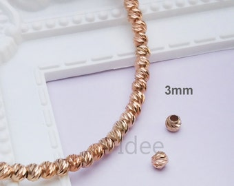 3mm silver Italy diamond cut beads, Solid 925 Sterling Silver with Rose gold plated.  F36